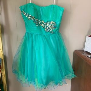 strapless green and blue homecoming dress